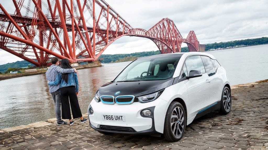 electric vehicle by the Forth Road bridge