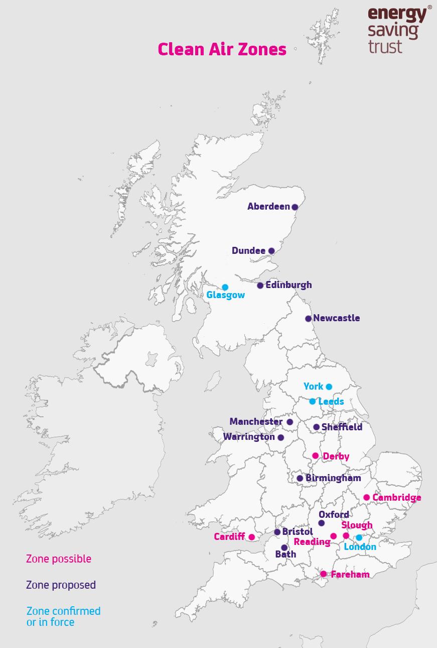 Clean Air Zones - status as of April 2019