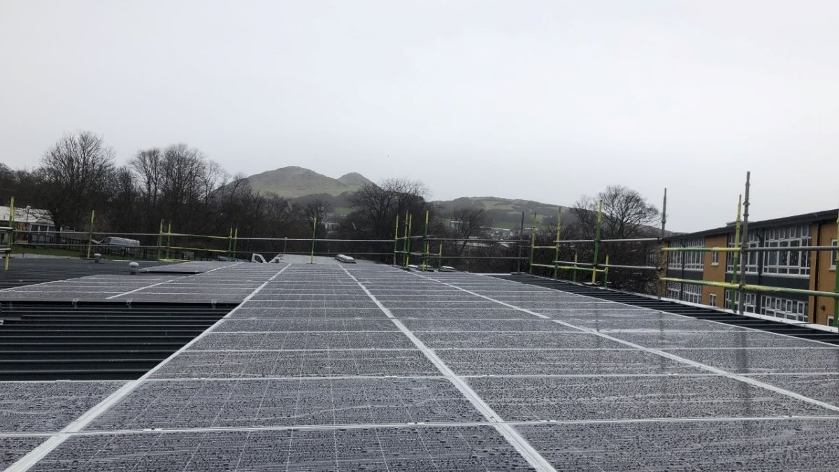 solar panels on the roof of Duddingston Primary School