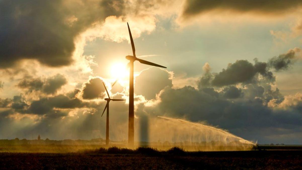 wind turbines in sunshine