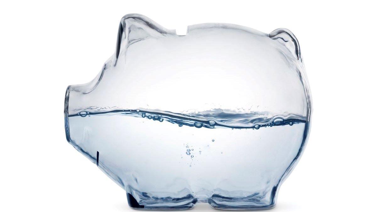 water inside a piggybank