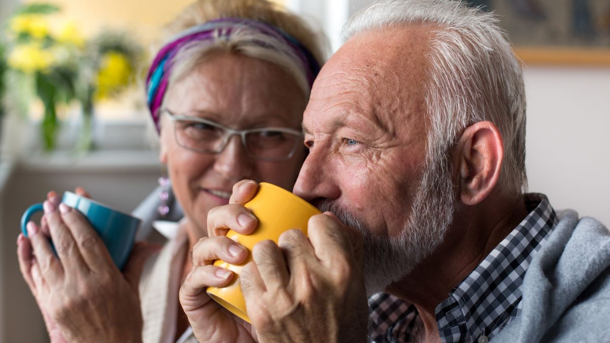 Senior couple drinking a cup of tea