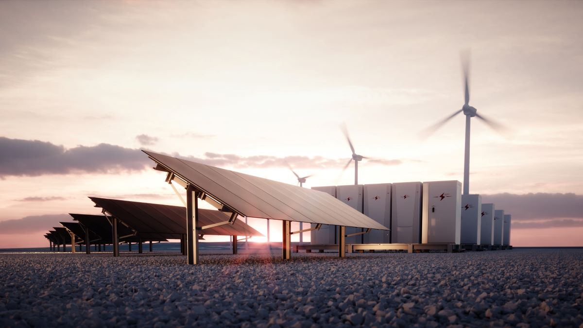 Battery storage linked to solar and wind power
