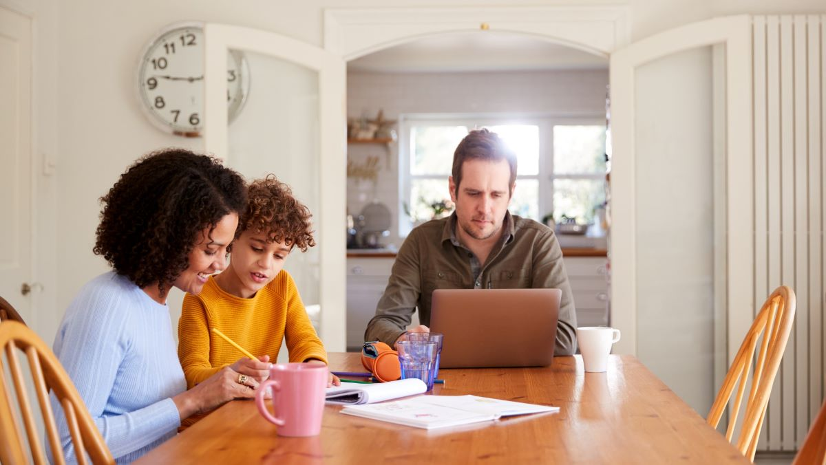 family working from home at kitchen table