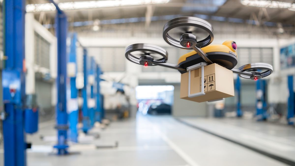 drone delivering spare parts in a factory