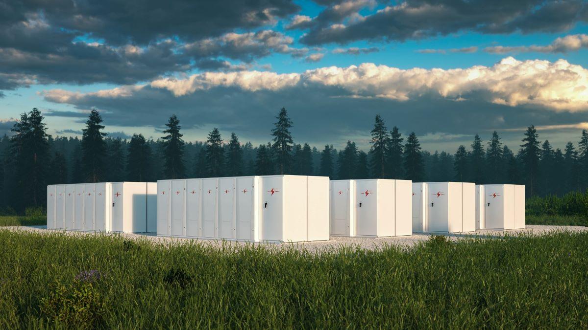 block of energy storage batteries in natural surroundings