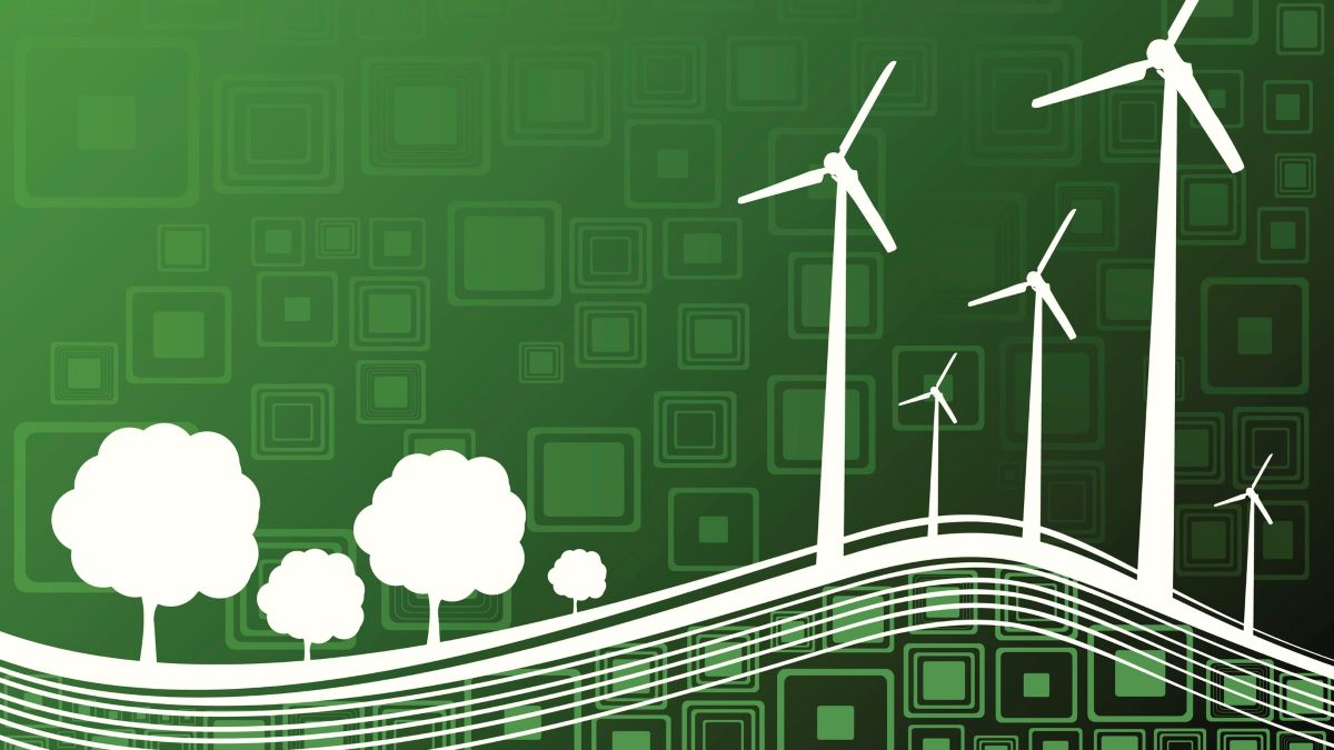 Pathway green graphic with trees and wind turbines