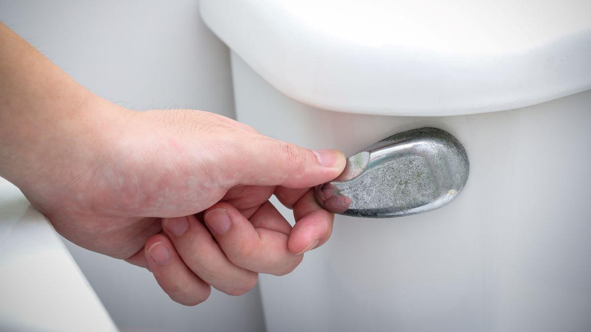 man's hand on a toilet flush handle