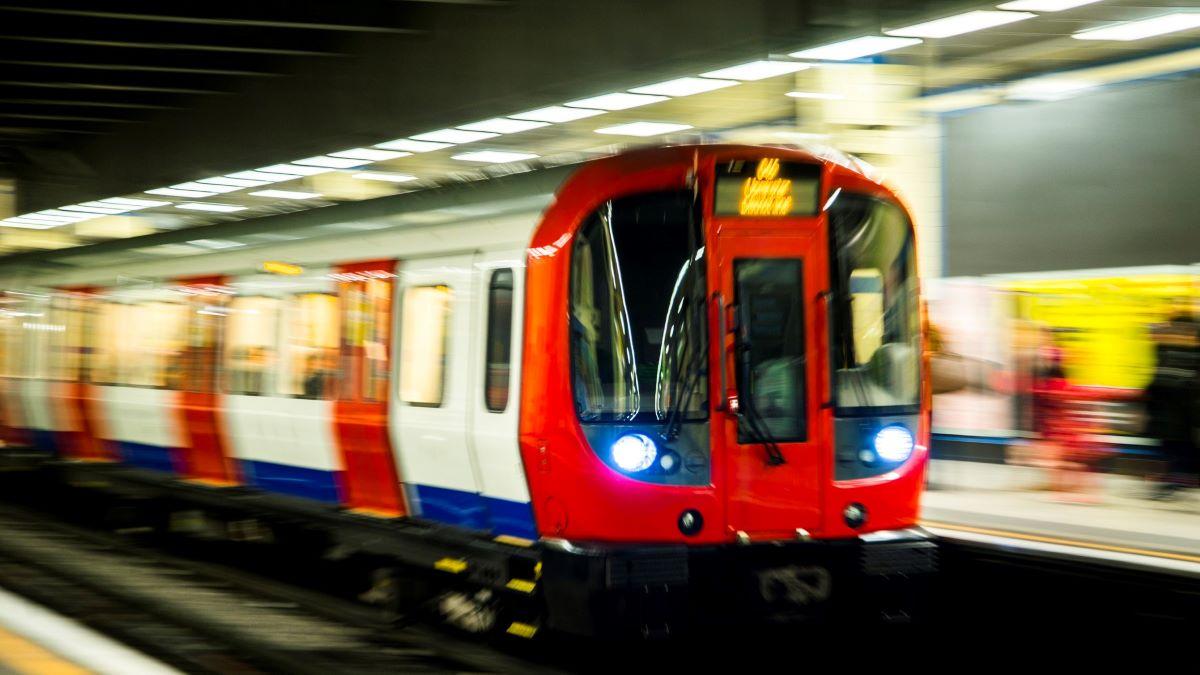 London tube train in station