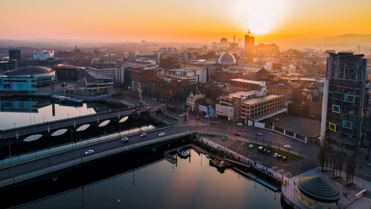 Belfast skyline at sunset