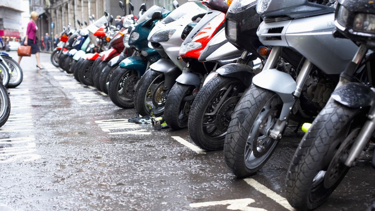 Motorbikes lined up in a row