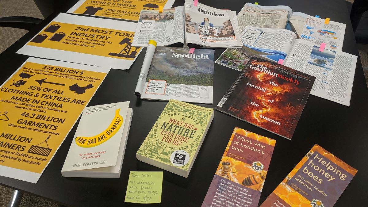books and articles available during Sustainability Week