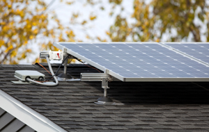 Residential solar panels on the roof