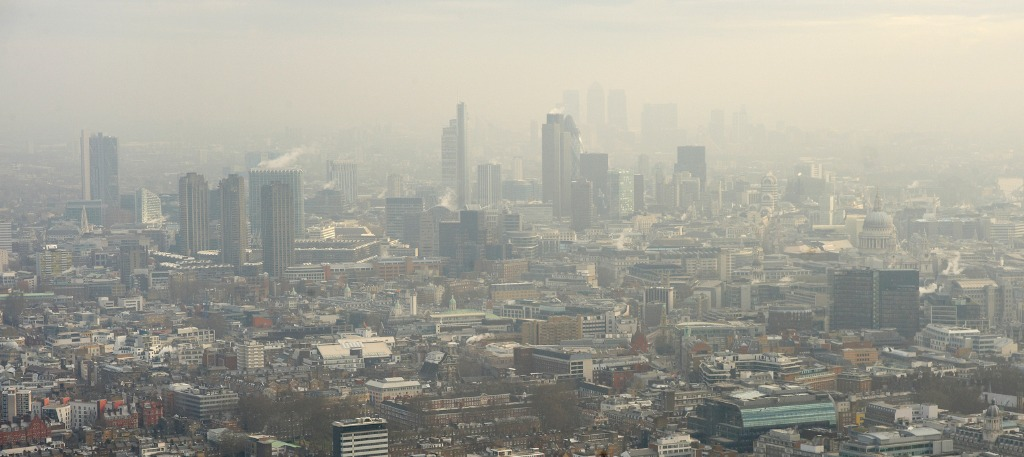 Ariel view of London covered in smog