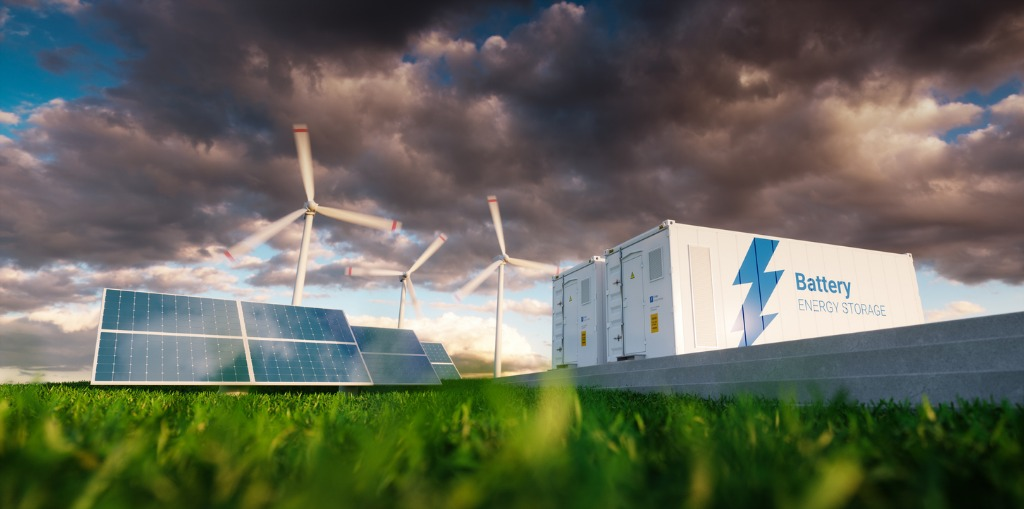 Energy storage system with renewable energy and battery