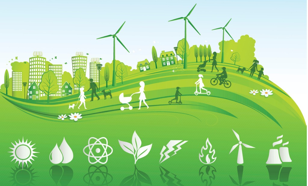 green city image with renewables