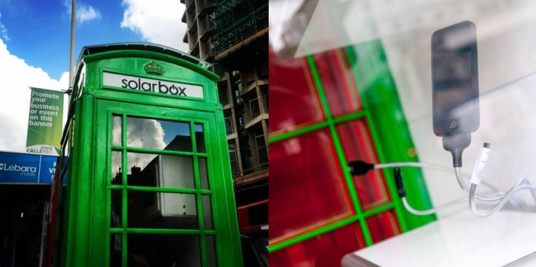 Solar powered telephone box