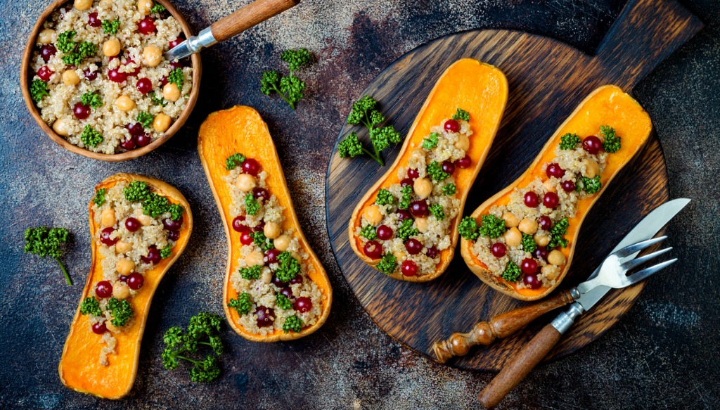 stuffed butternut squash with chickpeas cranberries quinoa