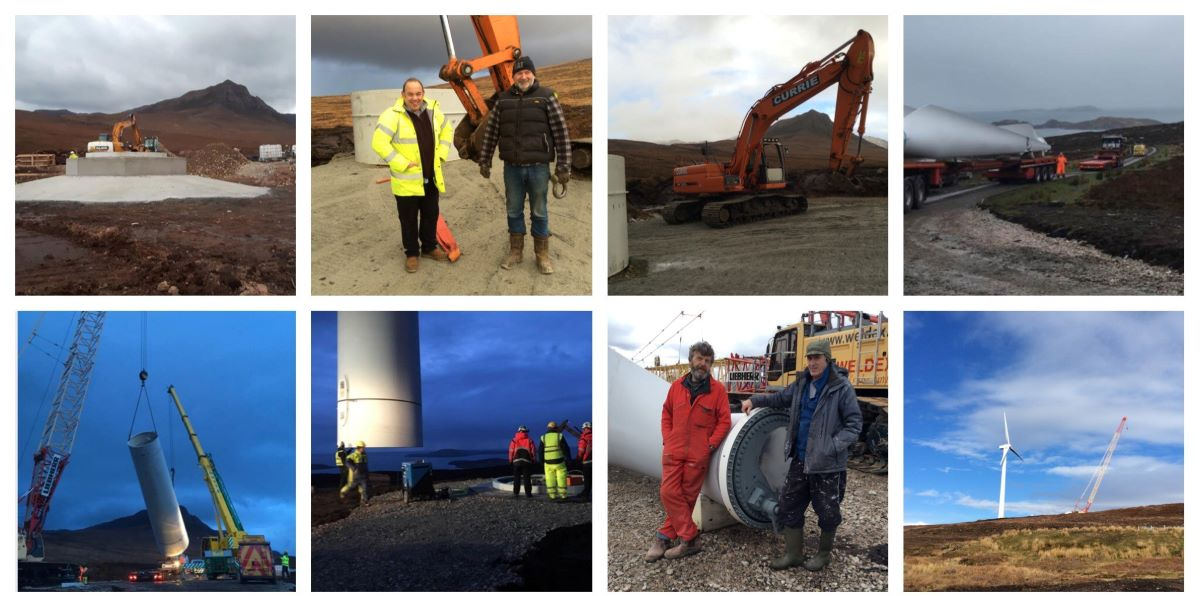 Photomontage of turbine going into place