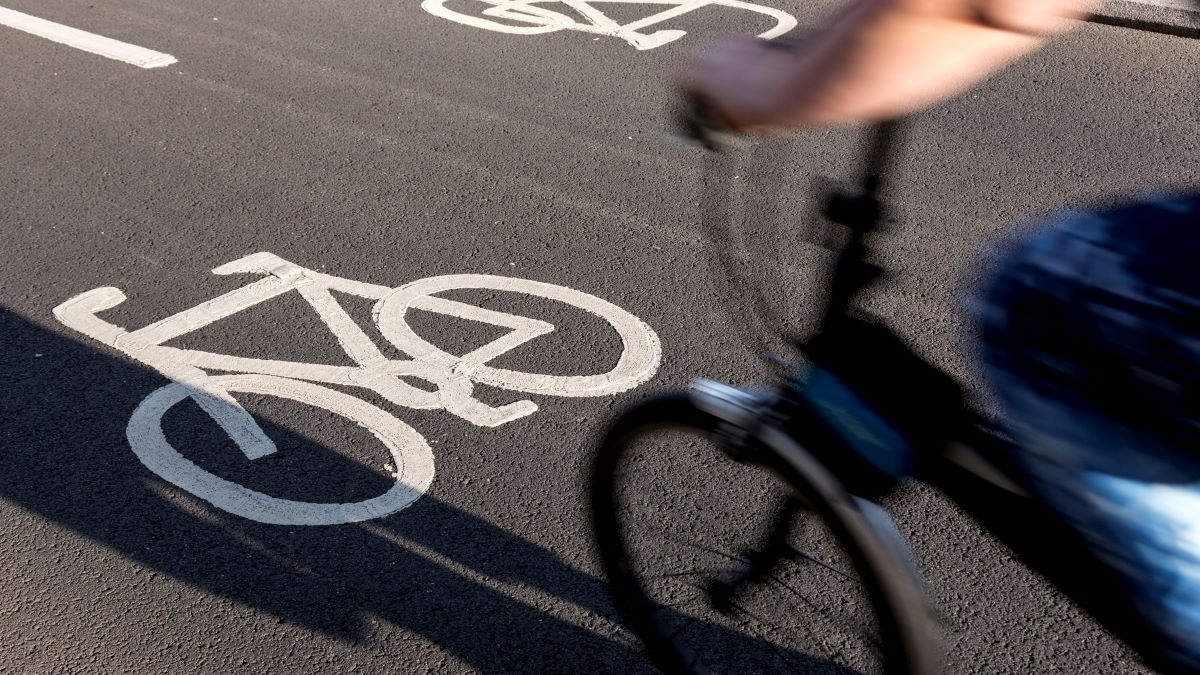 cycle lane on road with cyclist
