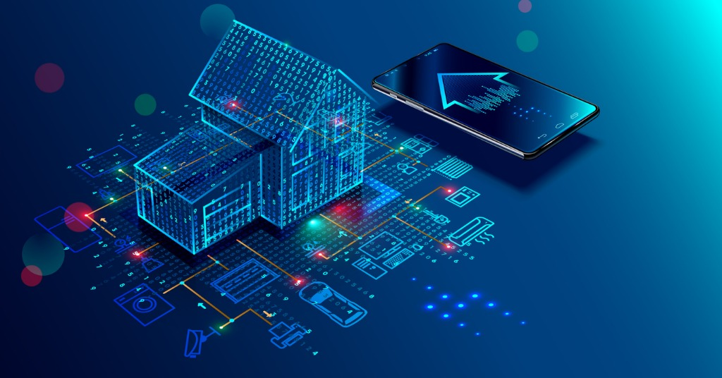 Connected home illustration with internet of things