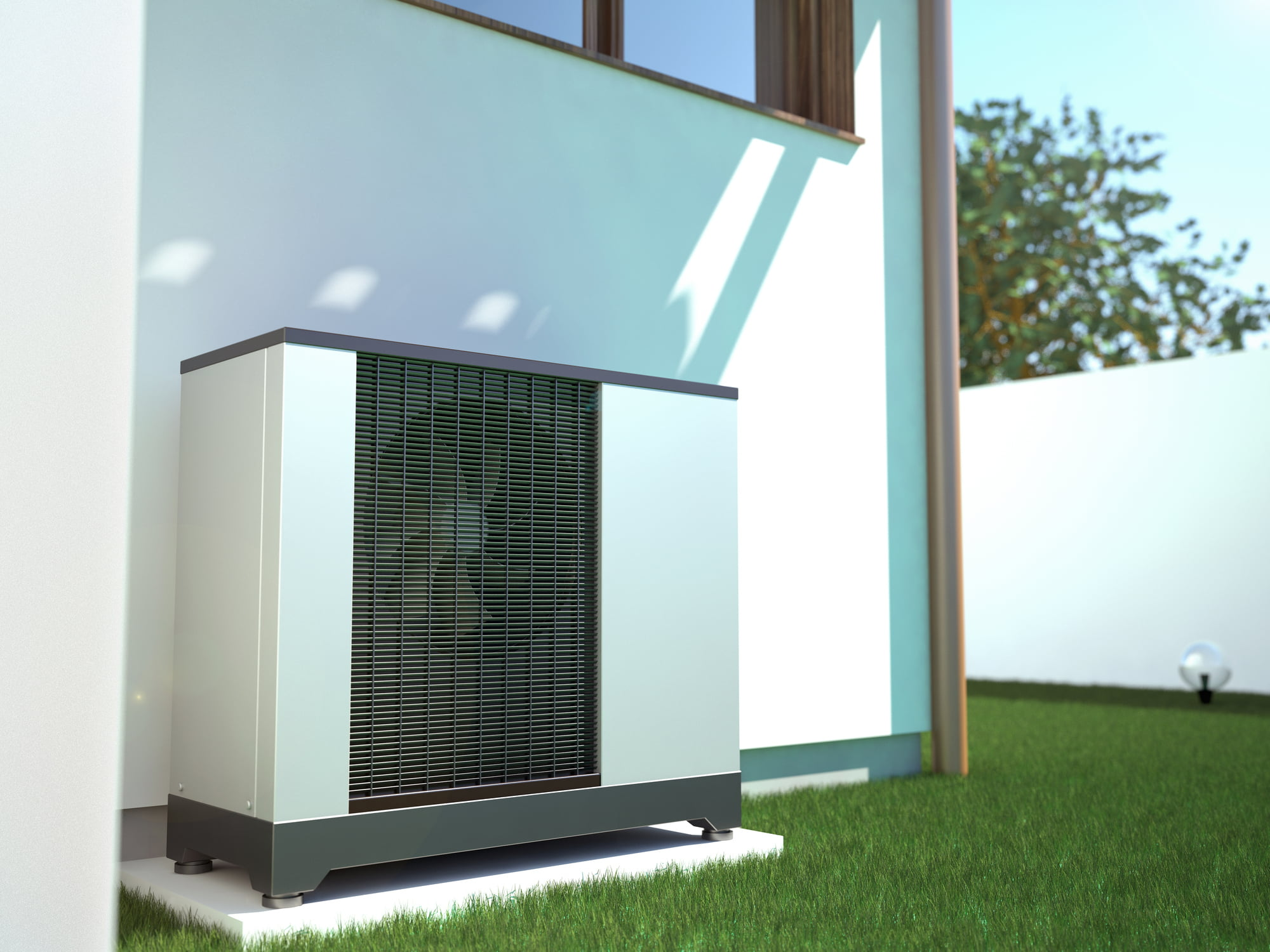 Air heat pump beside house,